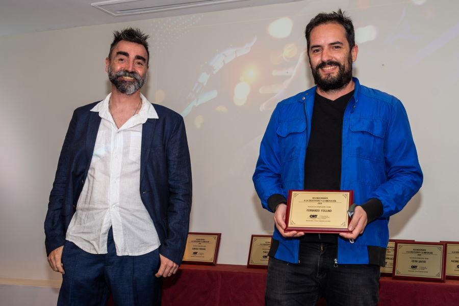 *Fabián Barros junto a Fernando Foglino en los Reconocimientos a la Creatividad y la Innovación 2020.