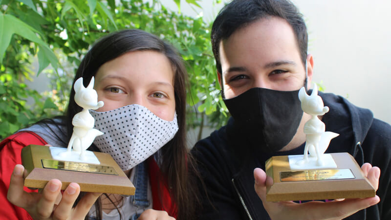 *Lucía García y Diego Edelman fueron premiados por su cortometraje.*